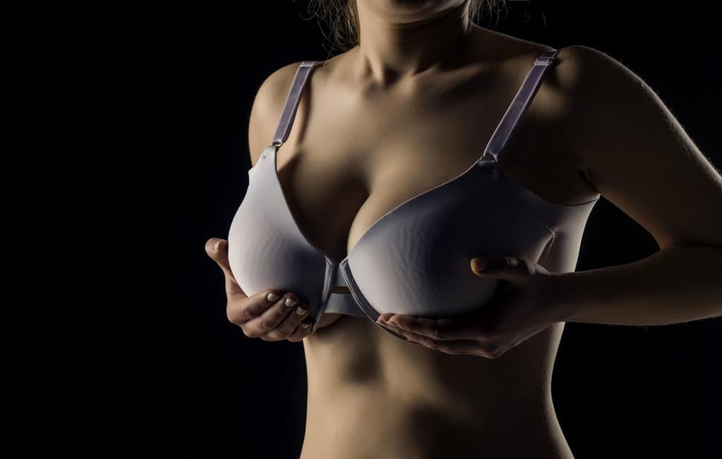 Woman with large breasts wanting breast reduction surgery